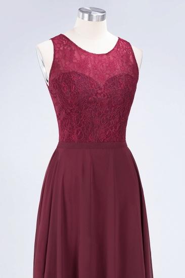 Elegant Roud Neckline Sleeveless Burgundy Lace Bridesmaid Dress Online_9