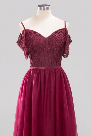 BMbridal Affordable Chiffon Off-the-Shoulder Burgundy Lace Bridesmaid Dresses_7