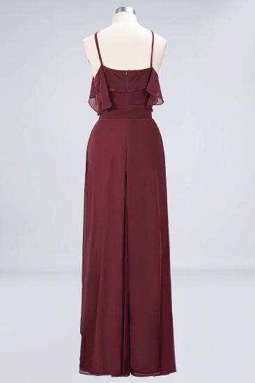 Affordable Spaghetti Straps Burgundy Long Bridesmaid Dress With Bow Sash_10