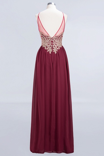Chic Spaghetti Straps Long Burgundy Backless Bridesmaid Dress with Appliques_5