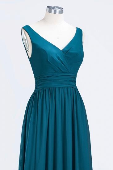 Modest Sleeveless V-Neck Long Chiffon Bridesmaid Dress Online with Ruffle_58