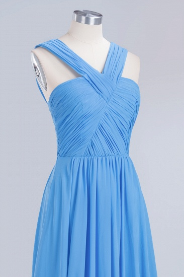 Chic Crisscross Ocean Blue Junior Bridesmaid Dresses Affordable Chiffon Ruffle Maid of Honor Dresses_13