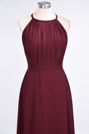 Modest Chiffon Jewel Ruffle Burgundy Long Bridesmaid Dresses Online_5