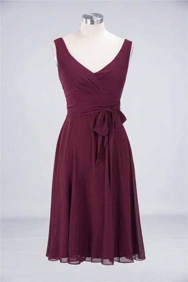 Elegant Straps V-Neck  Ruffle Short Burgundy Bridesmaid Dress with Bow Sash_8