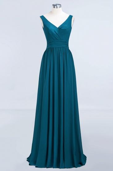 Modest Sleeveless V-Neck Long Chiffon Bridesmaid Dress Online with Ruffle_63