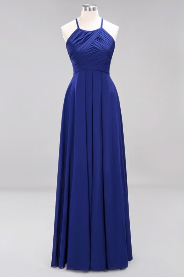 BMbridal Halter Crisscross Pleated Bridesmaid Dress Blue Chiffon Sleeveless Maid of Honor Dress_26