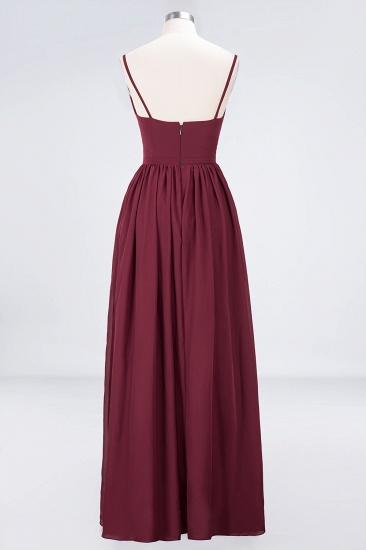 BMbridal Sexy Deep-V-Neck Appliques Burgundy Chiffon Bridesmaid Dress with Slit_11