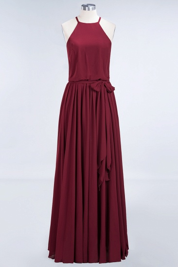 BMbridal Affordable Halter Bow Long Bridesmaid Dress Modest Burgundy Chiffon Wedding Party Dress_58