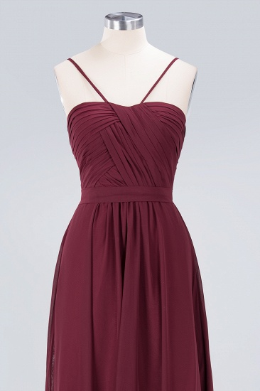 Chic Burgundy Sweetheart Long Bridesmaid Dress With Spaghetti-Straps_7
