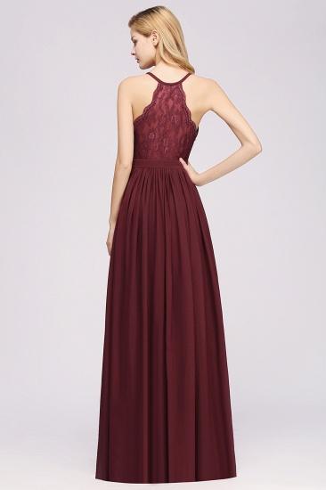 Affordable Chiffon V-Neck Sleeveless Lace Bridesmaid Dress Online_10