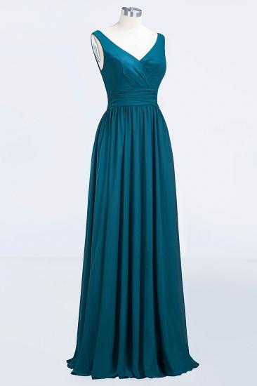Modest Sleeveless V-Neck Long Chiffon Bridesmaid Dress Online with Ruffle_59