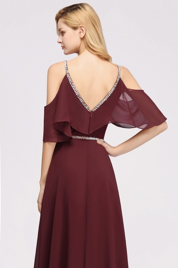 Burgundy Cold-shoulder Long Bridesmaid Dress With Half Sleeve_9