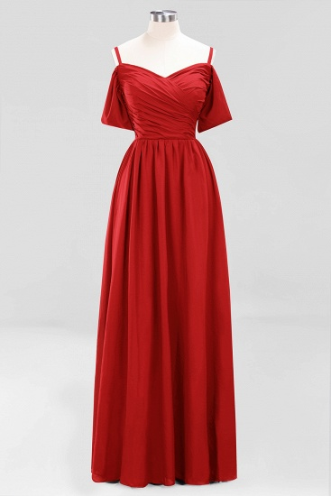 Chic Off-the-shoulder Burgundy Bridesmaid Dress with Spaghetti Straps_8