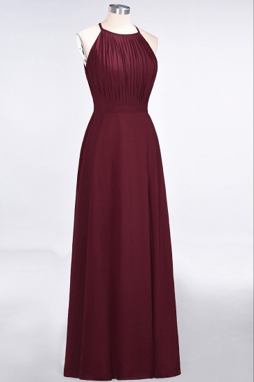 Modest Chiffon Jewel Ruffle Burgundy Long Bridesmaid Dresses Online_4