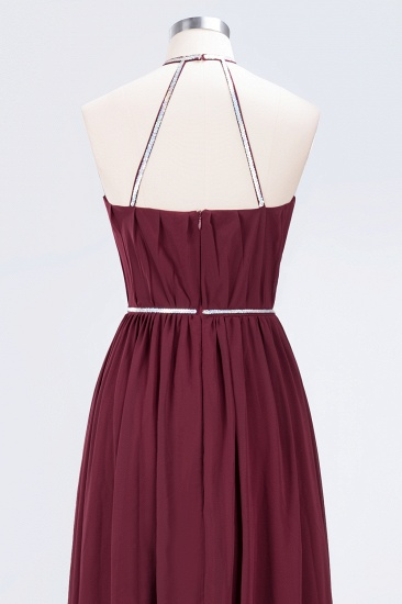 Chic Burgundy Halter Long Backless Bridesmaid Dress with Beadings_14