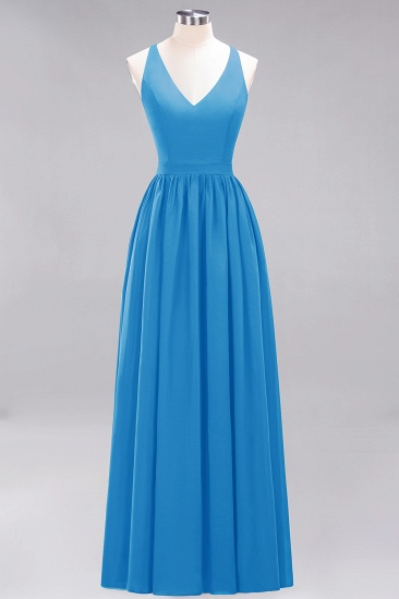 Affordable Chiffon V-Neck Sleeveless Lace Bridesmaid Dress Online_25