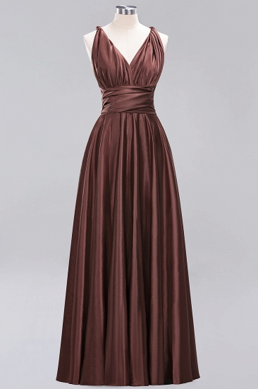 Chic Burgundy Chiffon Long Bridesmaid Dresses With One Shoulder_11