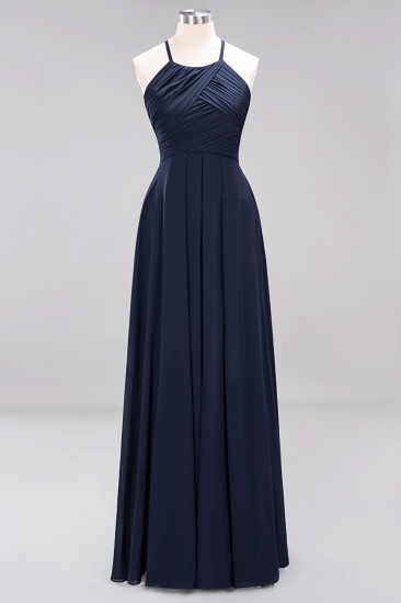 BMbridal Halter Crisscross Pleated Bridesmaid Dress Blue Chiffon Sleeveless Maid of Honor Dress_28