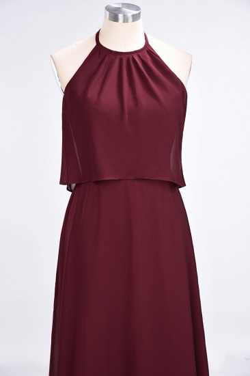 Gorgeous Chiffon Flounced Crinkle Sheath Long Burgundy Bridesmaid Dresses_54