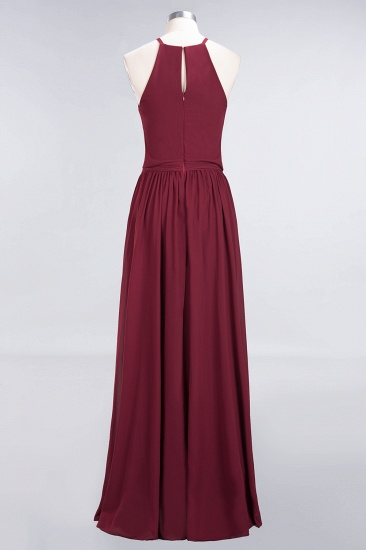 BMbridal Affordable Halter Bow Long Bridesmaid Dress Modest Burgundy Chiffon Wedding Party Dress_59