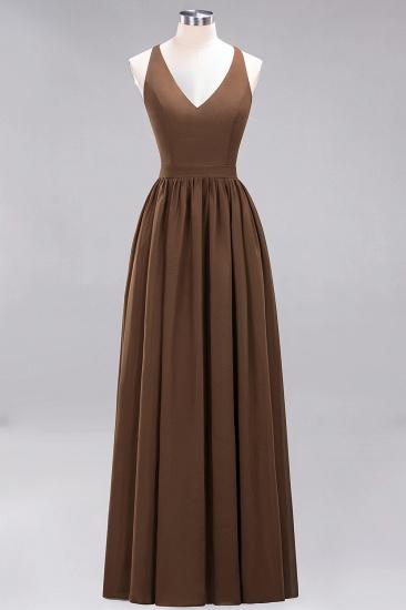 Affordable Chiffon V-Neck Sleeveless Lace Bridesmaid Dress Online_12
