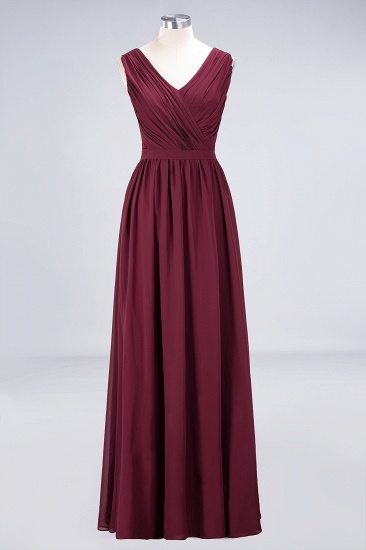 BMbridal Affordable Burgundy V-Neck Ruffle Bridesmaid Dresses with Lace-Back_9