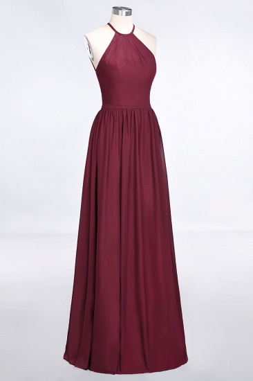 Affordable Halter Sleeveless Long Burgundy Bridesmaid Dress with Ruffle_55