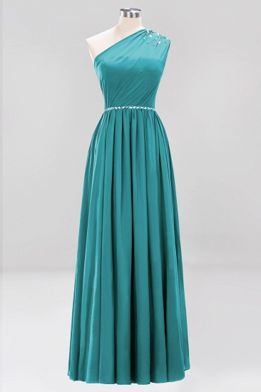 Modest One-shoulder Royal Blue Affordable Bridesmaid Dress with Beadings_32