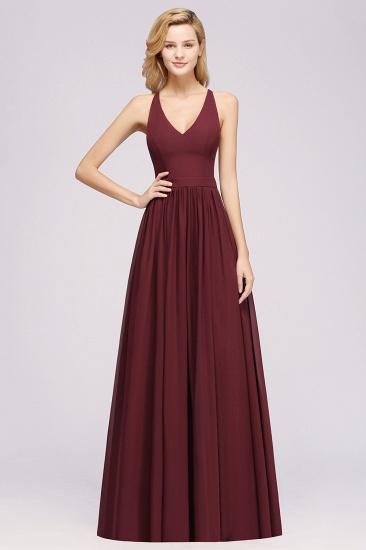 Affordable Chiffon V-Neck Sleeveless Lace Bridesmaid Dress Online_58
