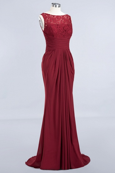 BMbridal Mermaid Scoop Sleeveless Lace Burgundy Bridesmaid Dresses with Pleats_10