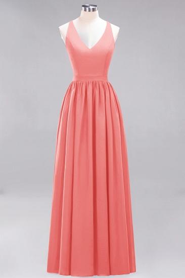 Affordable Chiffon V-Neck Sleeveless Lace Bridesmaid Dress Online_7
