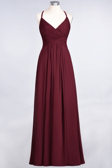 Affordable Chiffon Ruffle V-Neck Bridesmaid Dress with Spaghetti Straps_40