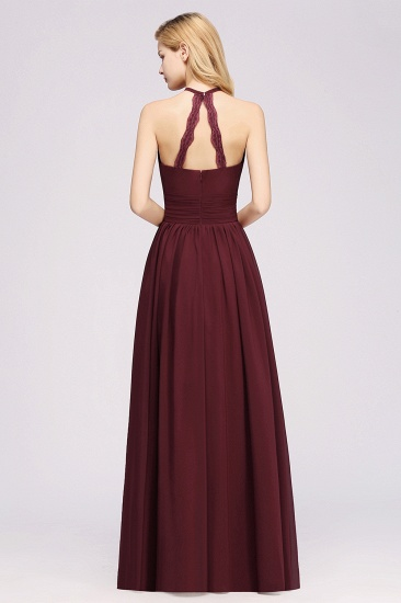 Elegant High-Neck Halter Long Affordable Bridesmaid Dresses with Ruffles_60