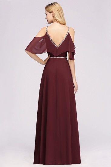 Burgundy Cold-shoulder Long Bridesmaid Dress With Half Sleeve_2