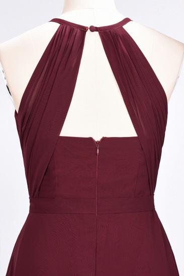 Modest Chiffon Jewel Ruffle Burgundy Long Bridesmaid Dresses Online_7