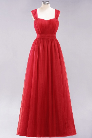 Gorgeous Sweetheart Straps Ruffle Burgundy Bridesmaid Dresses Online_8
