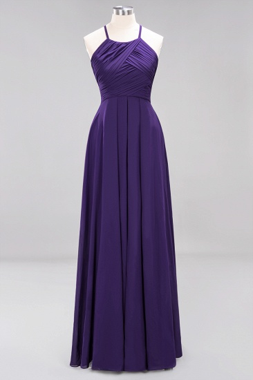 BMbridal Halter Crisscross Pleated Bridesmaid Dress Blue Chiffon Sleeveless Maid of Honor Dress_19
