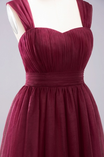 Gorgeous Sweetheart Straps Ruffle Burgundy Bridesmaid Dresses Online_41