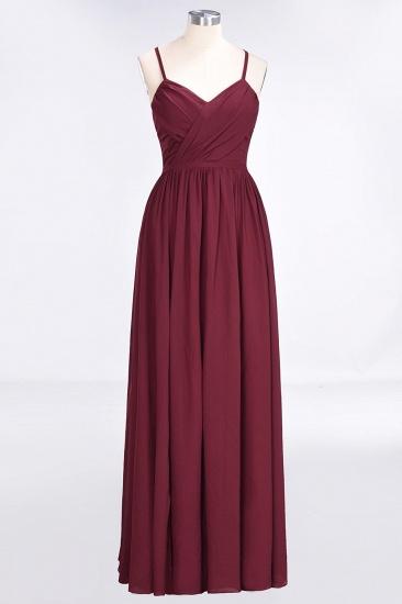BMbridal Elegant Chiffon V-Neck Burgundy Bridesmaid Dresses With Spaghetti-Straps_4
