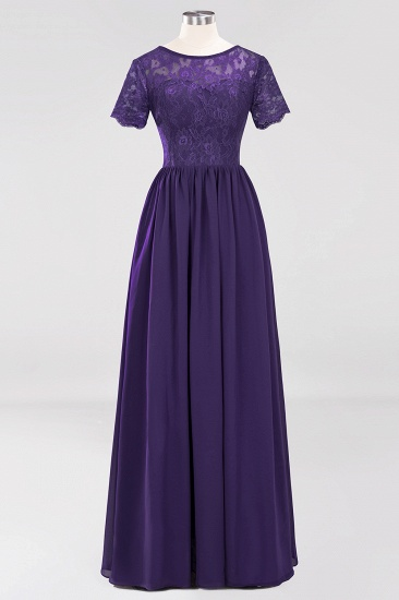 Elegant Dark Navy Long Lace Bridesmaid Dresses with Short-Sleeves_19