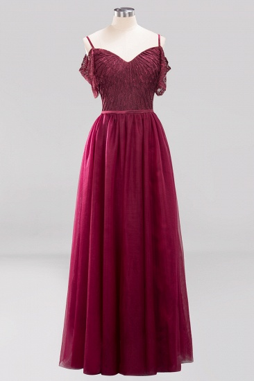 Affordable Chiffon Off-the-Shoulder Burgundy Lace Bridesmaid Dresses_4