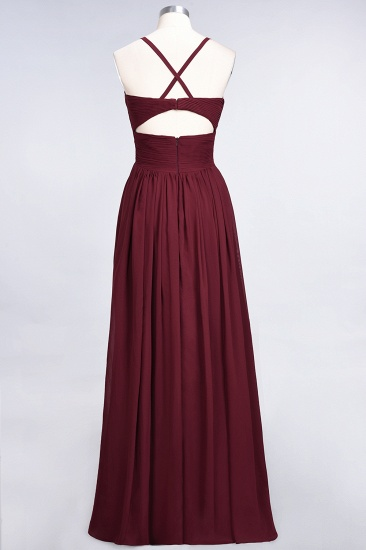 Affordable Chiffon Ruffle V-Neck Bridesmaid Dress with Spaghetti Straps_41