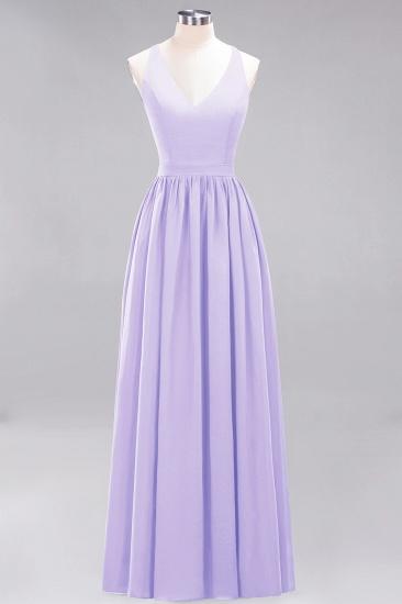 Affordable Chiffon V-Neck Sleeveless Lace Bridesmaid Dress Online_21