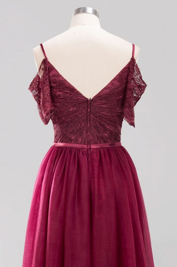 BMbridal Affordable Chiffon Off-the-Shoulder Burgundy Lace Bridesmaid Dresses_9