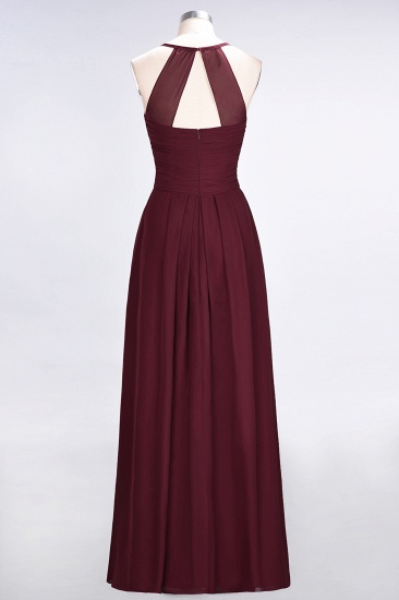 Affordable Spaghetti Straps V-Neck Burgundy Chiffon Bridesmaid Dress with Keyhole Back_60