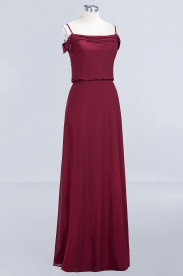 Elegant Off-the-Shoulder Burgundy Bridesmaid Dress Online Spaghetti-Straps Cheap Maid of Honor Dress_10