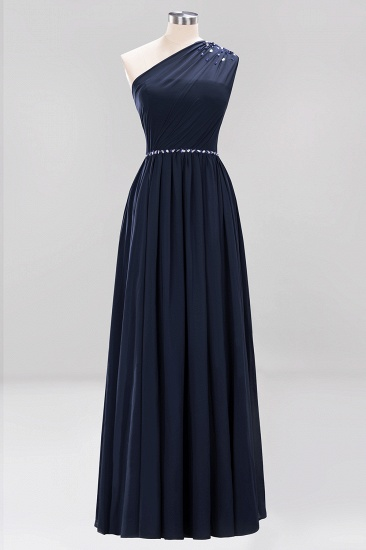 Modest One-shoulder Royal Blue Affordable Bridesmaid Dress with Beadings_28