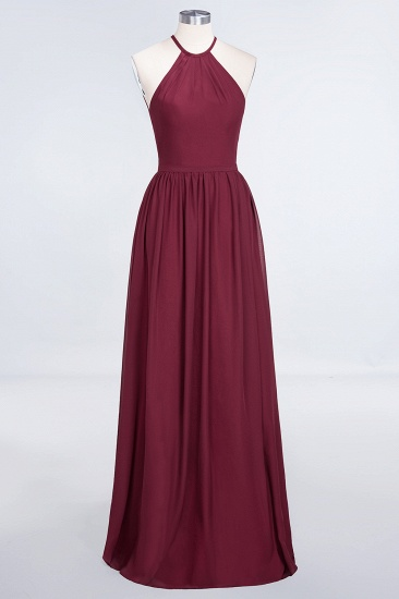 Affordable Halter Sleeveless Long Burgundy Bridesmaid Dress with Ruffle_53
