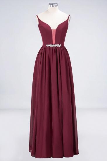 BMbridal Sexy Deep-V-Neck Appliques Burgundy Chiffon Bridesmaid Dress with Slit_10