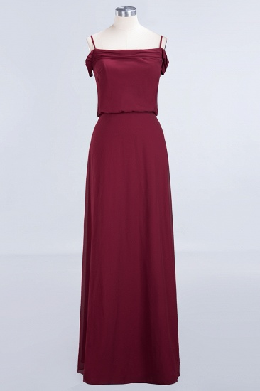 Elegant Off-the-Shoulder Burgundy Bridesmaid Dress Online Spaghetti-Straps Cheap Maid of Honor Dress_8